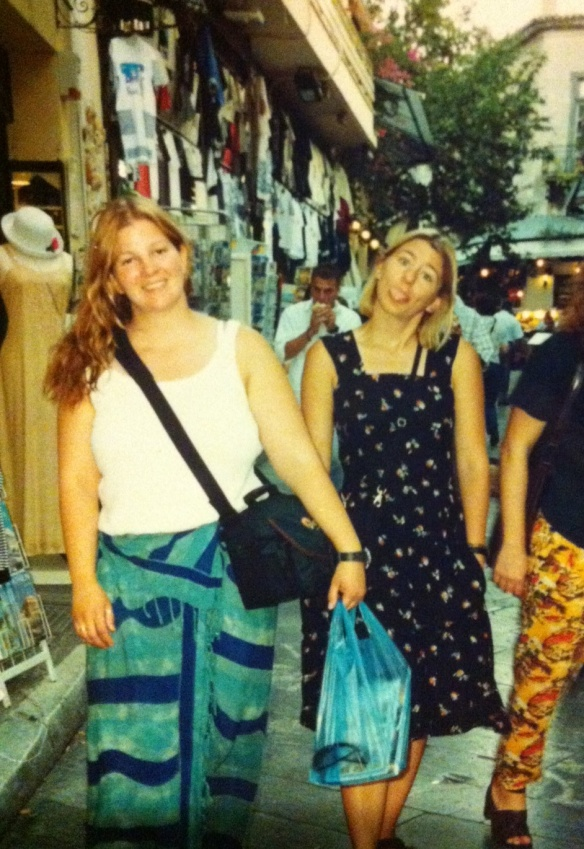 That's us strolling around Athens, Greece in 2000.