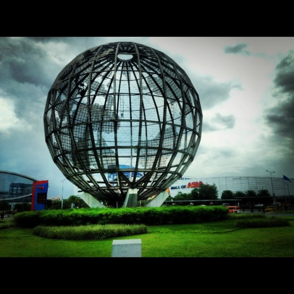 This globe is right outside the Mall of Asia - the largest mall in Asia.  When driving to the mall, the undercarriage of your vehicle is checked with mirrors for explosives.  To enter the mall, you pass through a small security gate with a metal detector and bag check.