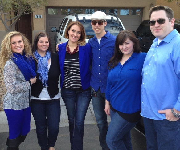 Wearing blue to Blue Man Group.