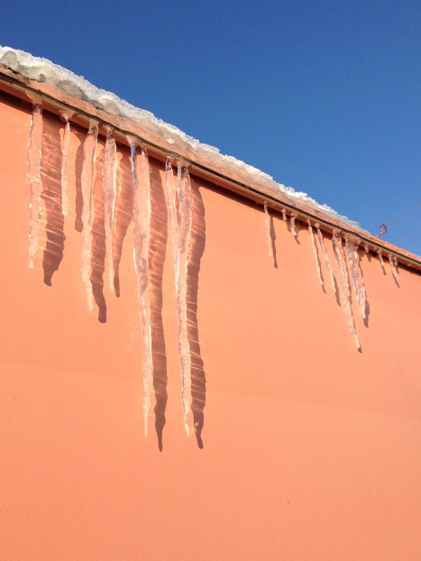 Even on bright sunny days, the pink trailer was home to many icicles.