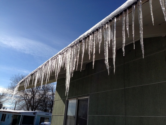 Beautiful icicles flanking the laundry room of a local trailer park.